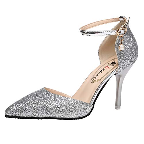 DENER-Women-Ladies-Dress-Sandals-Stilettos-PumpsSequins-High-Heels-Wide-Width-Comfortable-Wedding-Shoes-Black-0