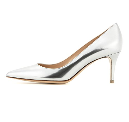 Sammitop-Womens-65cm-Classic-Kitten-Heel-Pumps-Pointed-Toe-Mid-Heel-Dress-Shoes-Silver-US13-0
