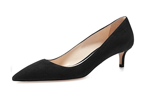 Sammitop-Womens-Pointed-Toe-Kitten-Heel-Pumps-Classic-Mid-Heel-Slip-on-Office-Dress-Shoes-Black-US13-0-0
