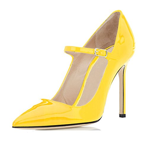 Sammitop-Womens-Shoe-Classic-Mary-Jane-Pointed-Toe-High-Heel-Pump-Yellow-Size-US13-0