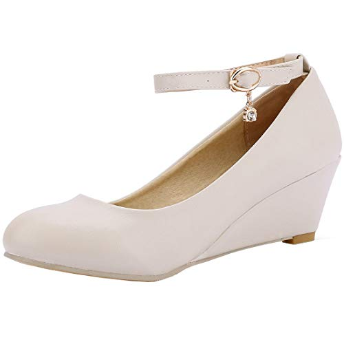 Vitalo-Womens-Ankle-Strap-Wedge-Pump-Mid-Heel-Closed-Toe-Court-Shoes-0
