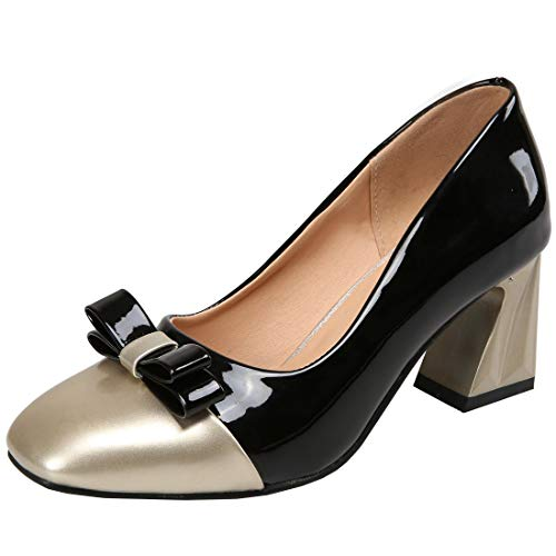 Vitalo-Womens-Mid-Block-Heel-Pump-Patent-Leather-Ladies-Two-Tone-Court-Shoes-0