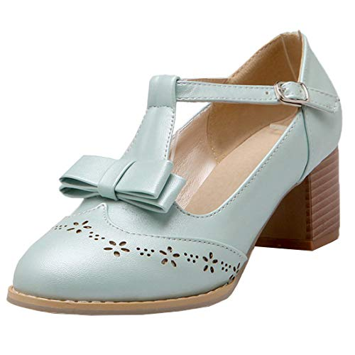 Vitalo-Womens-T-Strap-Mary-Janes-Block-Heel-Bow-Pumps-Vintage-Court-Shoes-0