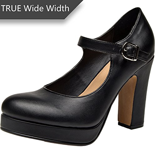 Wide-Width-Mary-Jean-Heel-Pump-for-Women-wAnkle-Buckle-Strap-Plus-Size-Mid-Chunky-Block-Stacked-Heels-Platform-ShoesBlackSize-13-0