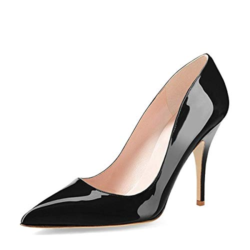YDN-Women-Classic-Mid-Heel-Pumps-Pointy-Toe-Slip-on-Formal-Stilettos-Office-Shoes-13-Black-0