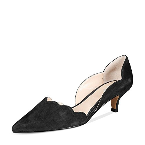 YDN-Women-Classic-Pointy-Toe-Kitten-Pumps-Slip-on-Suede-Low-Heel-DOrsay-Shoes-Formal-Black-13-0
