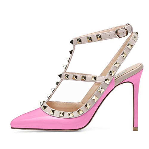 Chris-T-Women-Pointed-Toe-Studded-Strappy-Slingback-High-Heel-4-Inches-Leather-Pumps-Stilettos-Sandals-Size-13-US-Pink-0