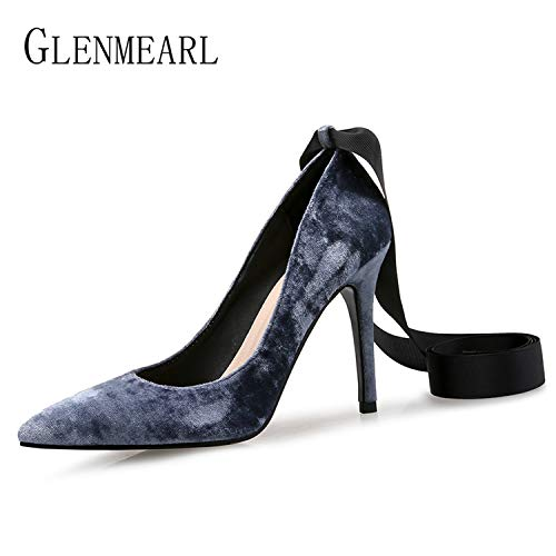 DATAIYANG-Women-Shoes-High-Heels-Pointed-Pumps-Party-Spring-Velvet-Lace-up-Office-Plus-Size-0