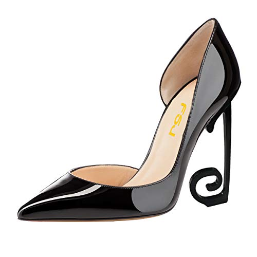 FSJ-Women-Comfort-Pointed-Toe-Black-High-Heel-Dorsays-Pumps-Slip-on-Party-Prom-Shoes-Size-4-15-US-0