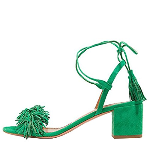 Lovirs-Womens-Green-Open-Toe-Ankle-Ties-Chunky-Heel-Fringed-Suede-Sandals-Dress-Causal-Shoes-13-M-US-0