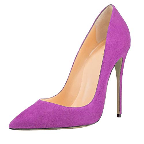 ShowTimes-2019-New-Women-Pumps-Pointed-Toe-Super-high-Heels-Red-Black-high-Heeled-Size-34-48-Flock-Thin-Heels-0