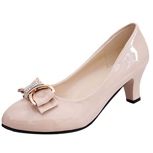 Cenglings-Womans-Casual-Patent-Leather-Point-Toe-Slip-On-Work-Shoes-Low-Chunky-Heel-Pumps-Ladies-Bow-Shallow-Shoes-75-Beige1-0