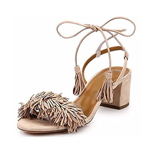 Comfity-Block-Heels-for-Women-Womens-Lace-Up-Sandals-Fringed-Tassel-Shoes-Ankle-Ties-Dress-Sandals-13-M-US-Nude-0