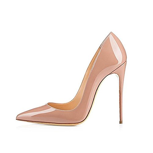 GENSHUO-Women-Fashion-Pointed-Toe-High-Heel-Pumps-Sexy-Slip-On-Stiletto-Dress-Shoes12cm-NU-8-0
