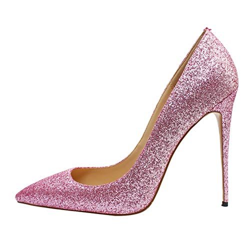 Guoar-Women-Glit-Sequin-Pointed-Toe-Pumps-Sexy-12CM-Big-Size-Shallow-Mouth-Pink-Shoes-US7-0