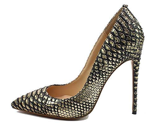Guoar-Women-Pointed-Toe-Pumps-12CM-Superfine-High-Heel-Big-Size-Gold-Snake-Rib-Microfiber-Shoes-US12-0