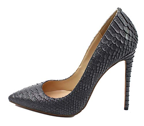 Guoar-Women-Pointed-Toe-Pumps-12CM-Superfine-High-Heel-Big-Size-Grey-Snake-Rib-Microfiber-Shoes-US11-0
