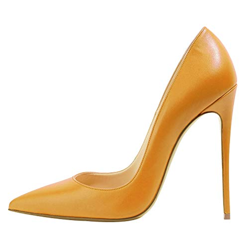 Guoar-Women-Pointed-Toe-Pumps-12cm-Superfine-High-Heel-Big-Size-Wedding-Party-Orange-Bonded-Leather-Shoes-US8-0