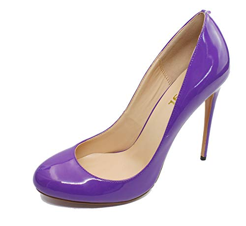 Guoar-Women-Synthetic-Shallow-Mouth-Round-Toe-Pumps-12CM-Superfine-High-Heel-Big-Size-Tuxedo-Purple-Shoes-US95-0