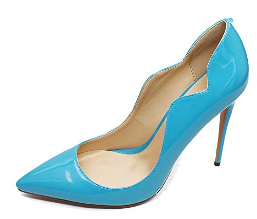 Guoar-Women-Wave-Type-Flame-Girl-Pointed-Toe-Pumps-12CM-Superfine-High-Heel-Big-Size-Summer-Navy-Shoes-US105-0