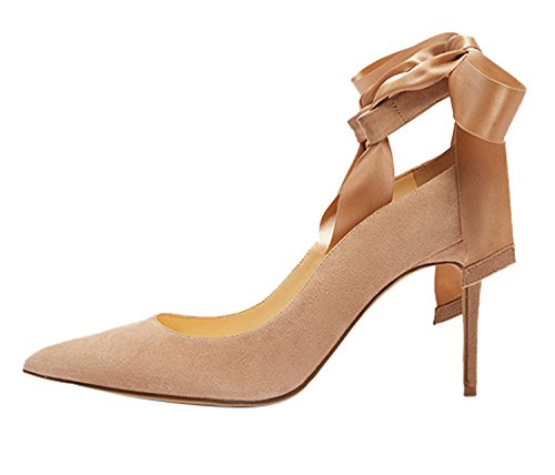 Guoar-Womens-Ankle-Strappy-Pointed-Toe-High-Heels-Comfort-Stiletto-Lace-Up-Pumps-Dress-Shoes-Size-5-12-Khaki-US-115-0