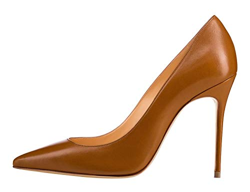 Guoar-Womens-Classic-Pointed-Toe-High-Heels-Stiletto-PU-Pumps-Dress-Brown-Shoes-Sandals-Size-45-10-US-8-0