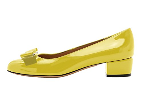 Guoar-Womens-Closed-Toe-Block-Heels-Patent-Bowknot-Pumps-Shoes-Low-Heels-for-Dress-Party-Yellow-US-8-0