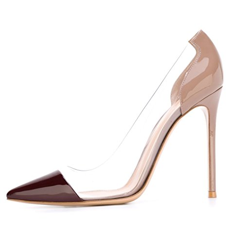Guoar-Womens-Multicolor-Big-Size-Pointed-Toe-Stiletto-Transparency-Stitching-High-Heels-Pumps-Shoes-Dark-Brown-and-Nude-Patent-US10-0