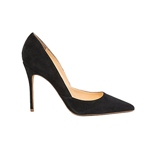 Guoar-Womens-Pointed-Toe-High-Heel-Shoes-Stiletto-Pumps-V-Cut-Dress-Shoes-Size-5-12-Black-Suede-US-6-0