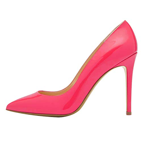 Guoar-Womens-Pointed-Toe-High-Heels-Shallow-Mouth-10CM-Solid-Party-Pumps-Rose-Red-Patent-Leather-Shoes-US6-0