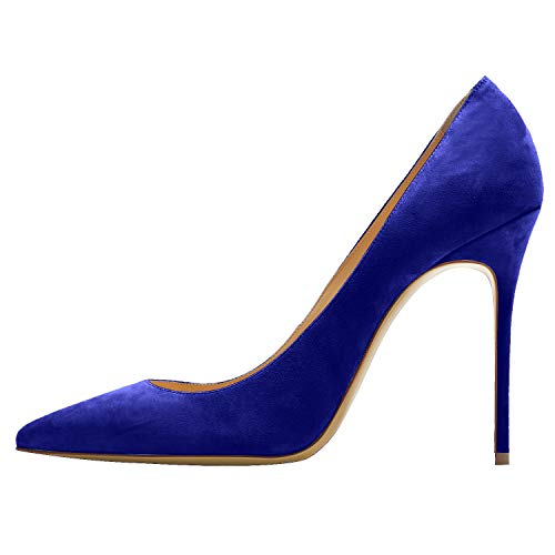 Guoar-Womens-Pointed-Toe-High-Heels-Stiletto-10CM-Pumps-Dress-RoyalBlue-Suede-Shoes-US-9-0