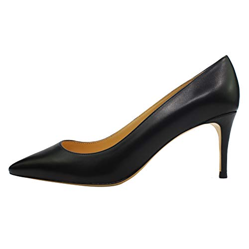 Guoar-Womens-Pointed-Toe-High-Heels-Stiletto-7CM-Pumps-Dress-Black-Soft-Leather-Shoes-US-6-0