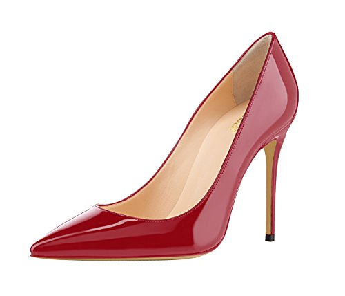 Guoar-Womens-Pointed-Toe-Shallow-Mouth-10CM-Stiletto-high-Heel-Crimson-Pumps-Size-4-12-US-5-0