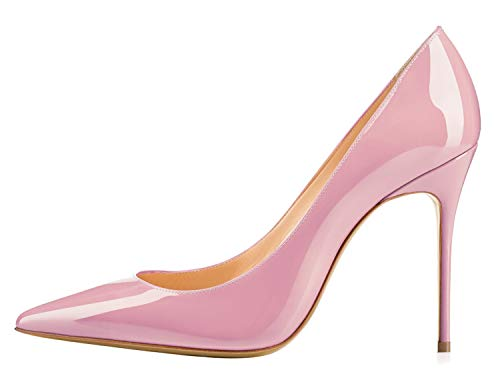 Guoar-Womens-Pointed-Toe-Shallow-Mouth-10CM-Stiletto-high-Heel-Pink-Pumps-Size-45-10-US-9-0