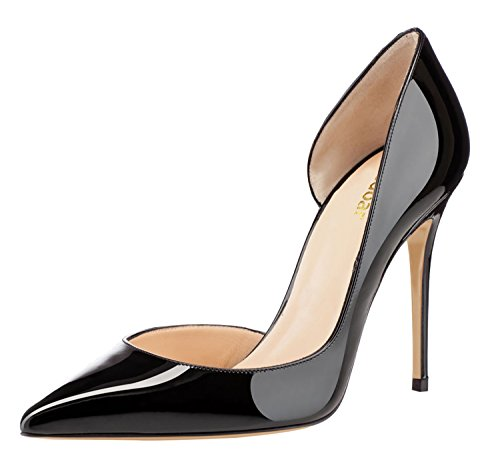 Guoar-Womens-Pointy-Toe-Stiletto-High-Heesl-DOrsay-Pumps-Party-Wedding-Prom-Dress-Shoes-Size-5-12-Black-Patent-US-95-0