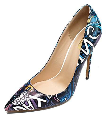 Guoar-Womens-Sexy-Pointed-Toe-Graffiti-12CM-High-Heel-Pumps-Color-Shoes-US8-0