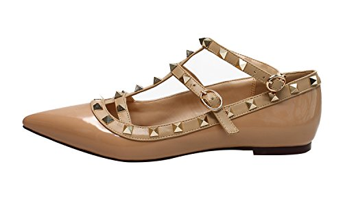 Guoar-Womens-Sexy-Rivets-Stud-Buckle-Two-Straps-Shallow-Mouth-Pointed-Toe-Flat-Nude-Pump-Shoes-US10-0
