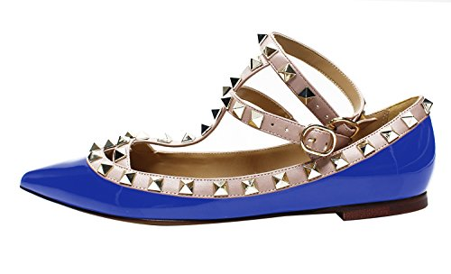 Guoar-Womens-Sexy-Rivets-Stud-Buckle-Two-Straps-Shallow-Mouth-Pointed-Toe-Flat-RoyalBlue-Pump-Shoes-US13-0