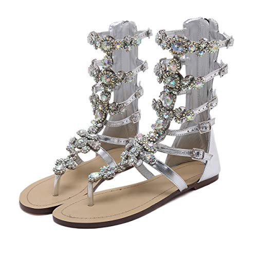 Stupmary-Womens-Gladiator-Sandals-Flat-Heels-Flip-Flops-Sandalias-Crystal-Floral-Beach-Shoes-13-Silver-0