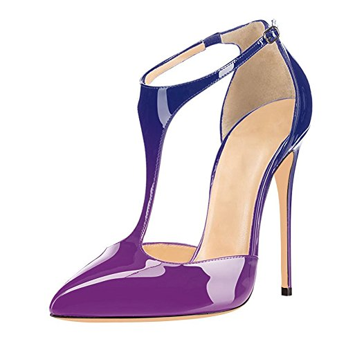 UMEXI-Pointed-Toe-T-Strap-High-Heels-Ankle-Strap-Sandals-Stilettos-Evening-Shoes-for-Women-Purple-to-Blue-Size-95-0