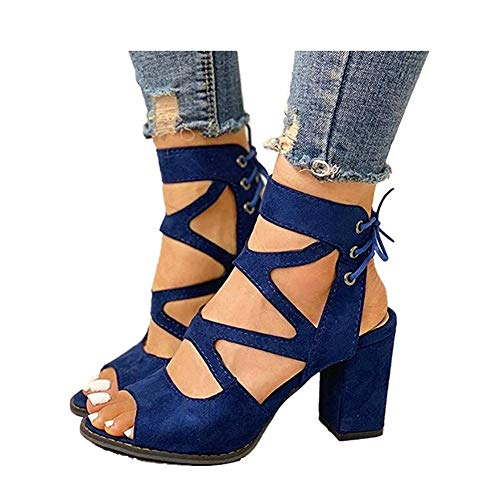 Womens-Chunky-Heels-Sandal-Summer-Gladiator-Open-Toe-Casual-Four-Adjustable-Buckle-Strap-Shoes-Blue-6-US85-0