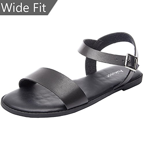 Womens-Wide-Summer-Flat-Sandals-Open-Toe-One-Band-Ankle-Strap-Flexible-Shoes180307-Black125WW-0
