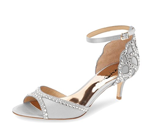 XYD-Ballroom-Dance-Shoes-Wedding-Sandals-Pumps-with-Rhinestones-Ankle-Strap-Peep-Toe-Heels-for-Women-Size-13-Gray-0