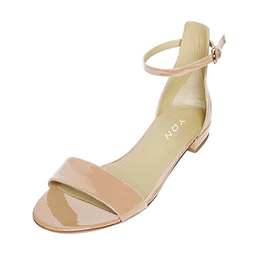 YDN-Womens-Chic-Block-Low-Heel-Sandals-with-Buckle-Solid-Ankle-Strap-Flat-Shoes-Comfy-Nude-13-0