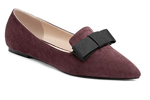 YODEKS-Womens-Flats-Classic-Pointy-Toe-Slip-Ons-Flat-Pumps-Comfort-Walking-Dress-Faux-Suede-Pointed-Toe-Ballet-Shoes-with-Bow-Knot-Red-Wine-US7-0