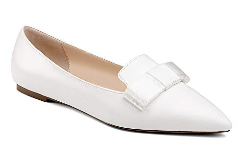 YODEKS-Womens-Flats-Classic-Pointy-Toe-Slip-Ons-Flat-Pumps-Comfort-Walking-Dress-Synthetic-PU-Leather-Pointed-Toe-Ballet-Shoes-with-Bow-Knot-White-US12-0