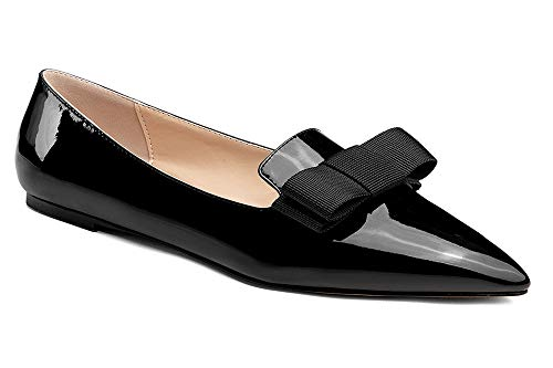 YODEKS-Womens-Flats-Classic-Pointy-Toe-Slip-Ons-Flat-Pumps-Comfort-Walking-Dress-Synthetic-Patent-Leather-Pointed-Toe-Ballet-Shoes-with-Bow-Knot-Black-US85-0