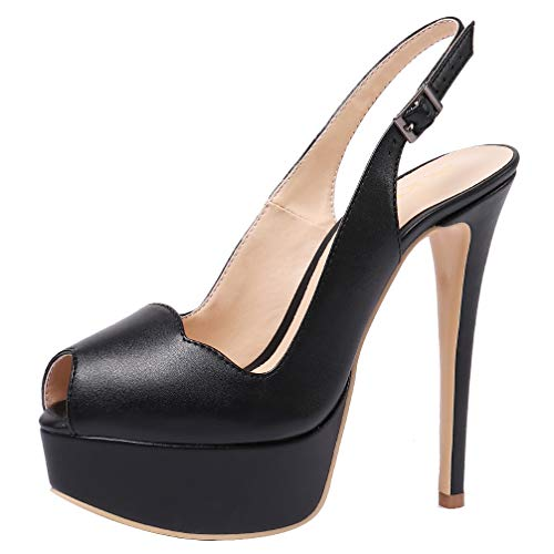 AOOAR-Womens-Slingback-High-Heels-with-Platform-Black-PU-Party-Pumps-13-M-US-0