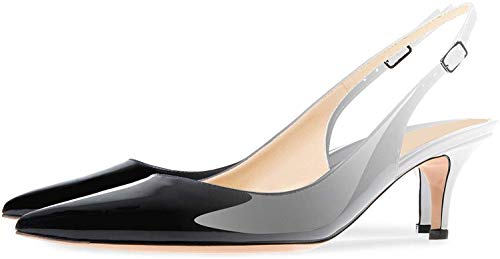 Ayercony-Sandals-for-Woman-Kitten-Heel-Pumps-Pointed-Toe-Shoes-Slip-On-Sandal-for-Dress-Gray-Black-Size-13-US-0