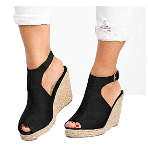 Cenglings-Wedges-SandalsWomens-Fish-Mouth-Espadrilles-Slingback-Platform-Sandals-High-Heel-Ankle-Strap-Beach-Shoes-Black-0